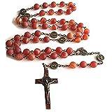 elegantmedical HANDMADE Rare Persian Red Agate Bead St. Benedict catholic Rosary Necklace cross GIFT BOX