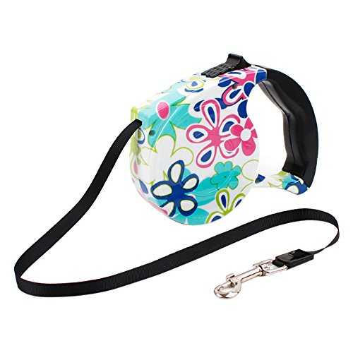 - Zehui Floral Print Retractable Dog Leash Automatic Traction Rope for Pets