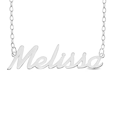 70714dbb62e25 MELISSA Name Necklace 925 Sterling Silver Trace Chain Pendant Gift + ...