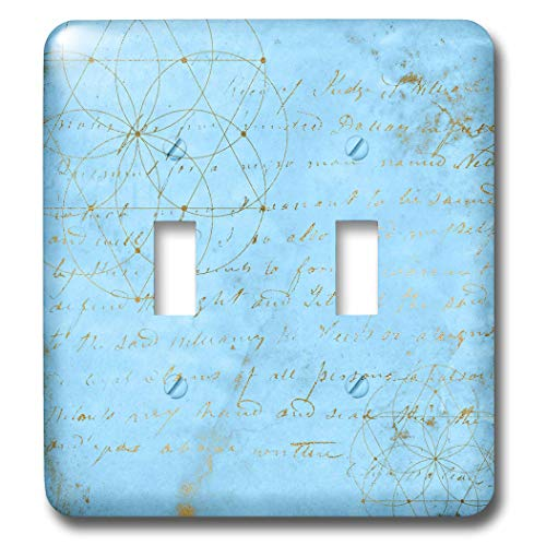 3dRose Uta Naumann Faux Glitter Pattern - Image of Sky Blue and Gold Metal Foil Vintage Luxury Text Pattern - Light Switch Covers - double toggle switch (lsp_290168_2) by 3dRose (Image #1)