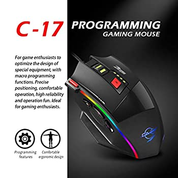 zelotes C17 Wired RGB Gaming Mouse, 13 Programmable Buttons, 10000 DPI Adjustable, Comfortable Grip Ergonomic PC Computer Mice with Weight Tuning Set