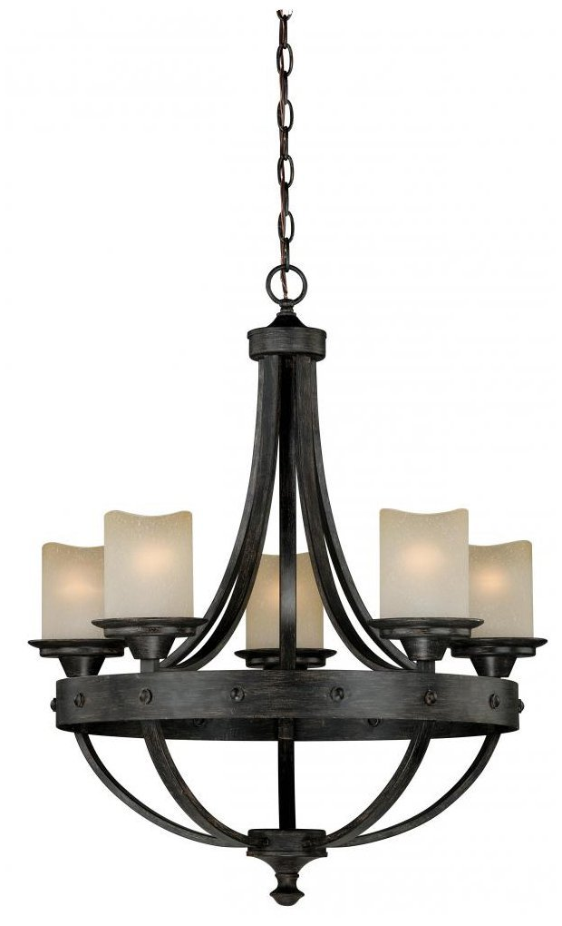 Vaxcel H0135 Halifax 5 Light Chandelier Aged Walnut Finish
