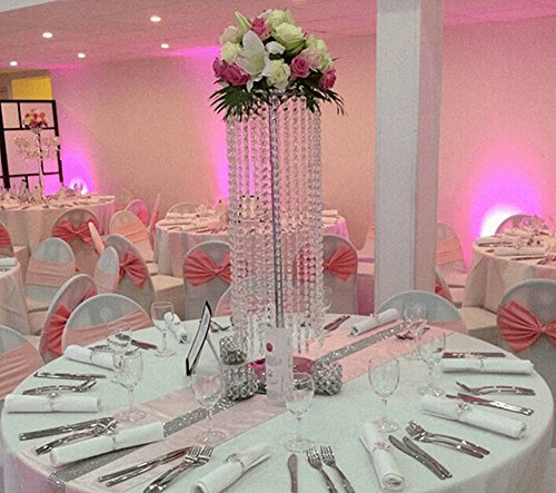 EVERBON Pack of 10 23.6 Inches Tall Wedding Flower Chandeliers Flower Stand with Acrylic Bead Pendants for Wedding Table Centerpiece Wedding Aisle Road Lead Party Decoration