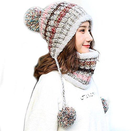 Fleece Lined Women Knit Beanie Scarf Set Girls Winter Ski Hat with Earflap Pompom (Grey)