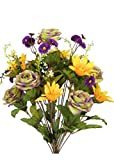 Admired By Nature 2 Piece 24 Stems Home office/Wedding/Restaurant Decoration Arrangement Artificial Daisy/Rose Mixed Flowers Bush, Large, Sage/Purple/Gold