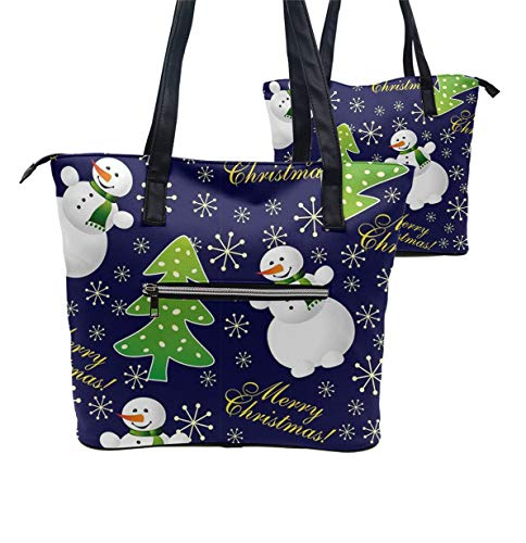 Tote Shopping Bag For Women,Coin Purse MakeUp Bag,School Backpack For Girls Student - snowman with Christmas tree ()