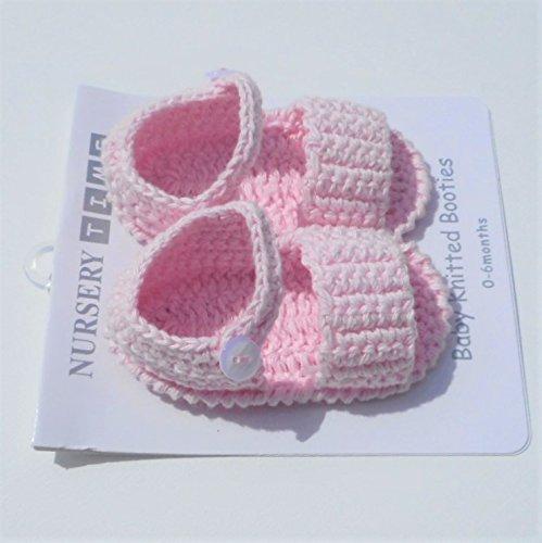 Par de sandalias/Pantuflas Algodón Tricote para bebe de nacimiento rosa