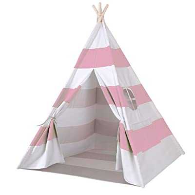 Funkatron Indoor Indian Playhouse Toy Teepee Play Tent for Kids Toddlers Canvas with Carry Case, Pink Stripe: Home & Kitchen