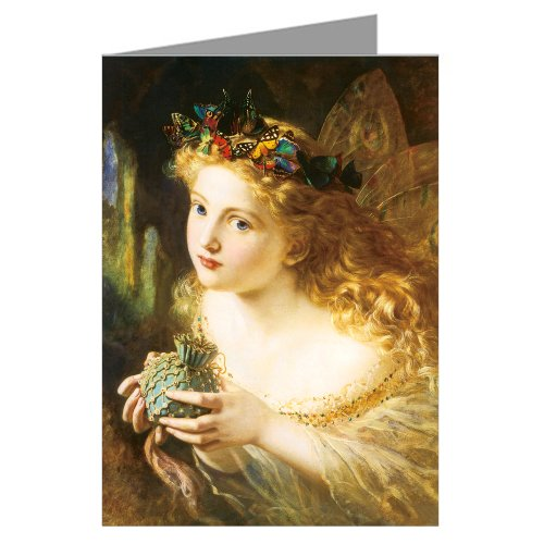 (Single Sophie Anderson Greeting Card of This 1969 Fairy Painting Titled Take The Fairy Face of Woman)