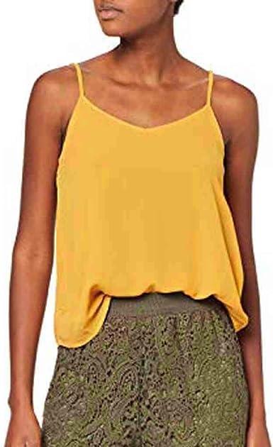 Camisetas sin Mangas de Verano para Mujer Camisas Fiesta Cuello en V botón Tirantes Camiseta Deportiva Camisa Tops Tamaño Grande Mangas Casuales Cami del Color Puro Cuello Las Mujeres Blusas: Amazon.es: Ropa