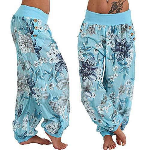 Multi Blau Radhosen Frauen Taschen Print Size Frauen Weite heißen Sporthosen Weite Hosen FeiBeauty Weiten Beinhosen Casual qEgRZO