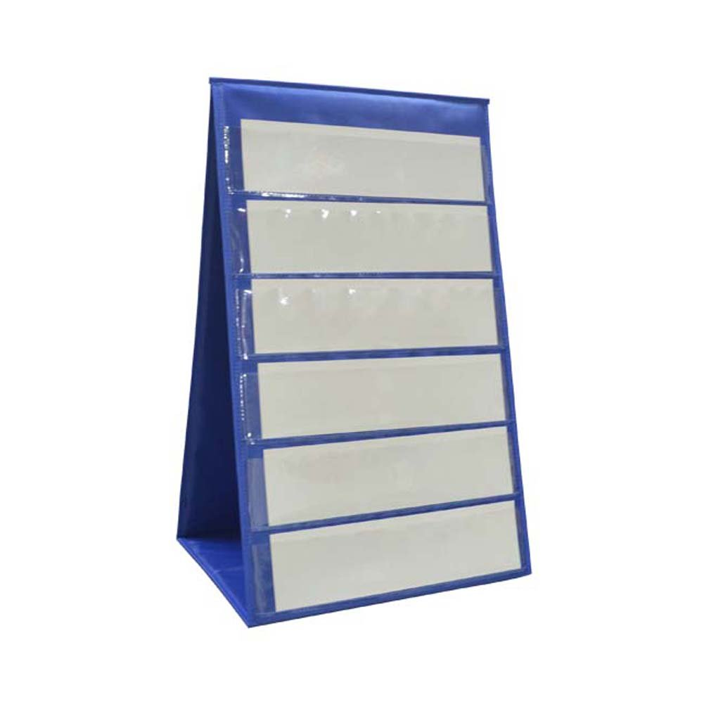 Tabletop Double Sided Pocket Chart - Teaching Supplies for Classroom Centers or Small Group Instruction - 12 Total Pockets + Bonus 24 Blank White Sentence Card Strips (Blue)