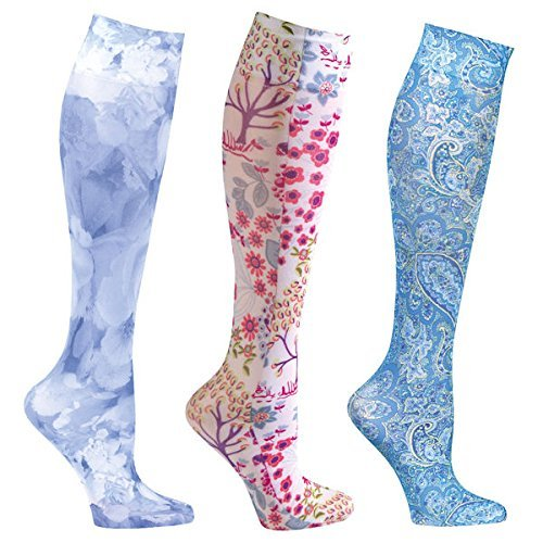 Stocking Season (Women's Mild Compression Wide Calf Knee High Support Socks - Colors of Blue - 3 Pair)