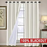 H.VERSAILTEX 100% Blackout Curtains for Kids Bedroom Energy Saving Thermal Insulated Living Room Curtain Drapes, Window Treatment Panels for Patio Door, Light Blocking Draperies for Nursery, Ivory For Sale