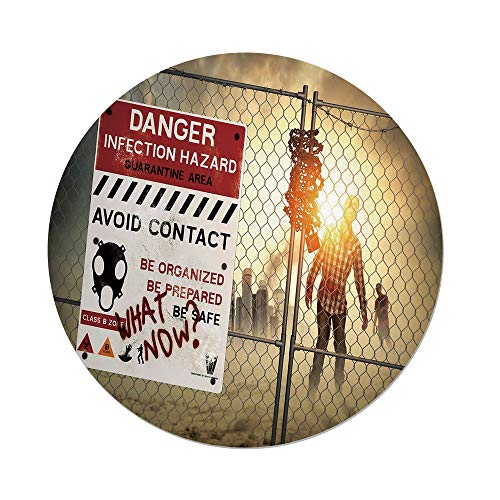 Polyester Round Tablecloth,Zombie Decor,Dead Man Walking Dark Danger Scary Scene Fiction Halloween Infection Picture,Multicolor,Dining Room Kitchen Picnic Table Cloth Cover,for Outdoor Indoor