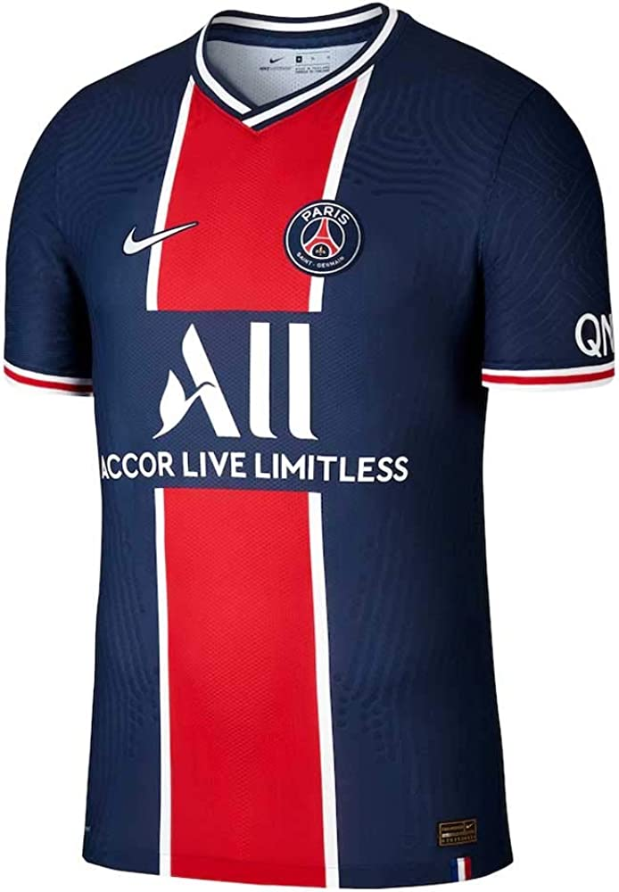 Amazon Com Nike 2020 2021 Psg Authentic Vapor Match Home Football Soccer T Shirt Jersey Clothing
