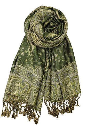 Multi Floral Scarf - Achillea Soft Silky Reversible Paisley Pashmina Shawl Wrap Scarf w/Fringes (Dark Olive)