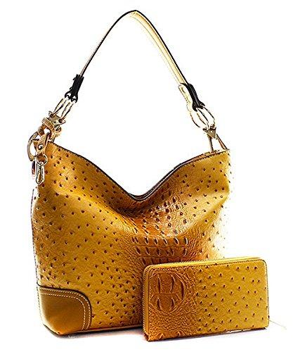 Handbag Inc Ostrich Vegan Leather Shoulder Hobo Handbag and Wallet (Black) by Handbag Inc (Image #3)