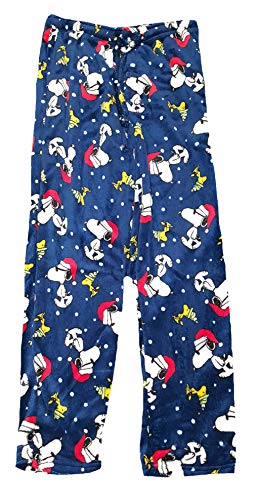 Christmas Peanuts Snoopy Blue Fleece Lounge Sleep Pants - Small