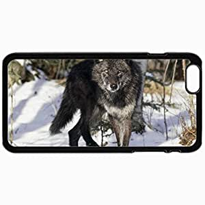 Fashion Unique Design Protective Cellphone Back Cover Case For iPhone 6 Case Black Wolf In The Snow Black