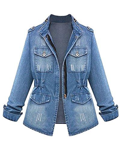 Cystyle Damen Jeans Jacke Blouson Übergangsjacke Denim Mantel Outwear  Trenchcoat Frühling Kurz Jack Pl5FgWwYS