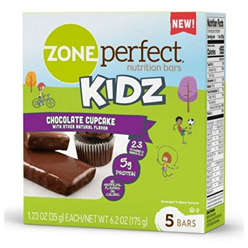 Zone Perfect Kids Chocolate Cupcake Nutrition Bars 1.23ozx 5 bars(total 6.15oz) (Perfect Zone Sweet)