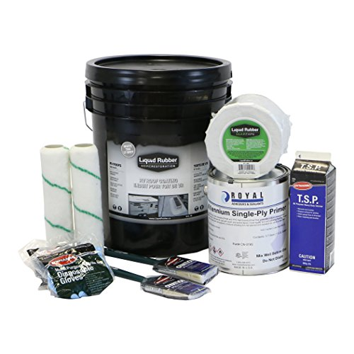 Liquid Rubber RV Roof Coating/Sealant 5 Gallon Kit - Brilliant White - TOP SELLER - Includes 5G of Liquid Rubber RV Coating, Liquid Rubber 4 x 50 Seam Tape, Primer, Cleaner, Brushes, Rollers, Gloves