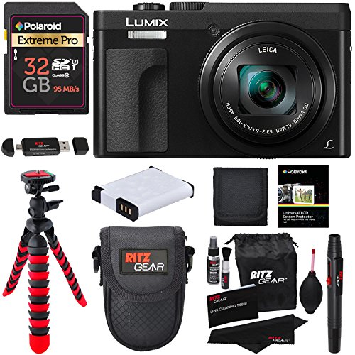 Panasonic DC-ZS70K Lumix 20.3 Megapixel, 4K Digital Camera, Touch Enabled 3'' 180 Degree Flip-Front Display, 30x Leica DC Vario-Elmar Lens, Wi-Fi with 3'' LCD, Black, Polaroid 32GB and Accessory Bundle by Ritz Camera