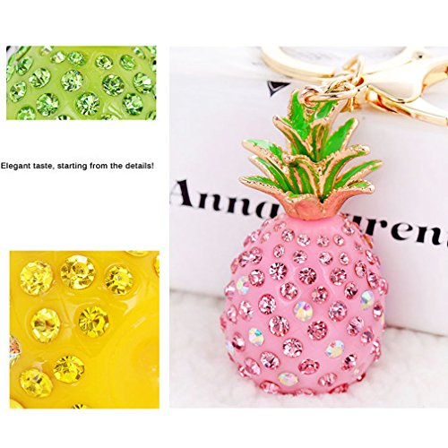 Cute Key Chain Shiny Crystal Pineapple Key Ring Mini Bag Decoration for Girls and Women(Pink) by leomoste (Image #3)