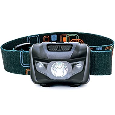 LED Headlamp - Great for Camping, Hiking, Dog Walking, and Kids. One of the Lightest (2.6 oz) Headlight. Best Flashlight. Water & Shock Resistant with Red Strobe. 3 AAA Duracell Batteries Included.