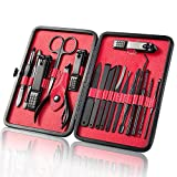Miukada 18pcs Nail Clipper Set.Professional Stainless Steel Manicure and Grooming Kit, Nail Clipper and Tweezer Set with Luxurious Case(Black/Red)