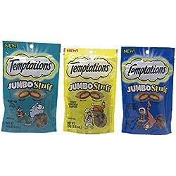 Temptations Jumbo Stuff Cat Treats Bundle Set of 3 Flavors (Tempting Tuna, Tasty Chicken, Savory Salmon, 2.5 oz each)