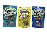 Temptations Jumbo Stuff Cat Treats Bundle Set of 3 Flavors (Tempting Tuna - Tasty Chicken - Savory Salmon - 2.5 oz each)