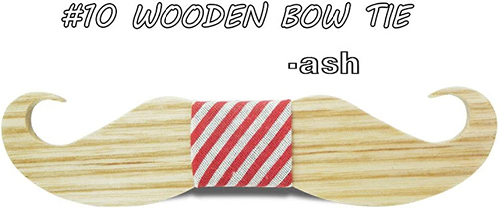 Sunsnow Mens Handmade Wooden Bow Ties with Matching Pocket Square Wedding Bowtie