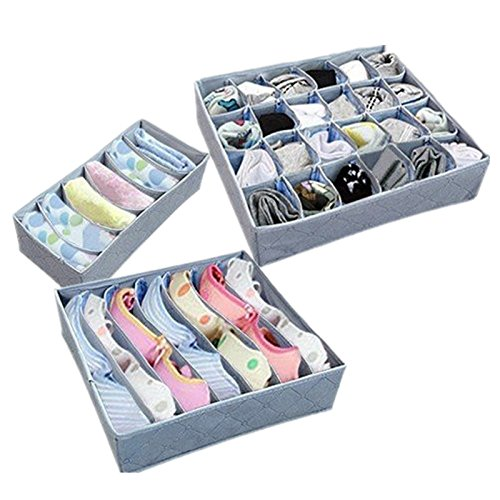 3 Boxes Underwear Storage   Nonwoven  Bamboo Charcoal  Elegant  Home Organizer  Boxes Bra  Necktie  Socks  Folding Container  Organizers  Various Grid Design