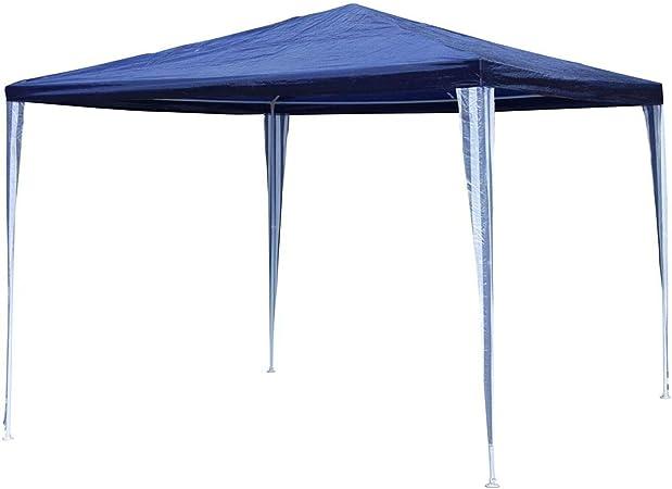 Linder Cenador de Metal 3 x 3 x 2, 4 m Azul/Blanco PE Jardín Cenador de Tienda Pavilion: Amazon.es: Jardín