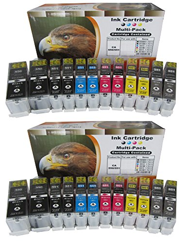 24 komp. Druckerpatronen XL mit Chip für Canon Pixma MG7550 MG6350 MG7150 IP8750 4 x schwarz 4 x photoschwarz 4 x blau 4 x rot 4 x gelb 4 x grau