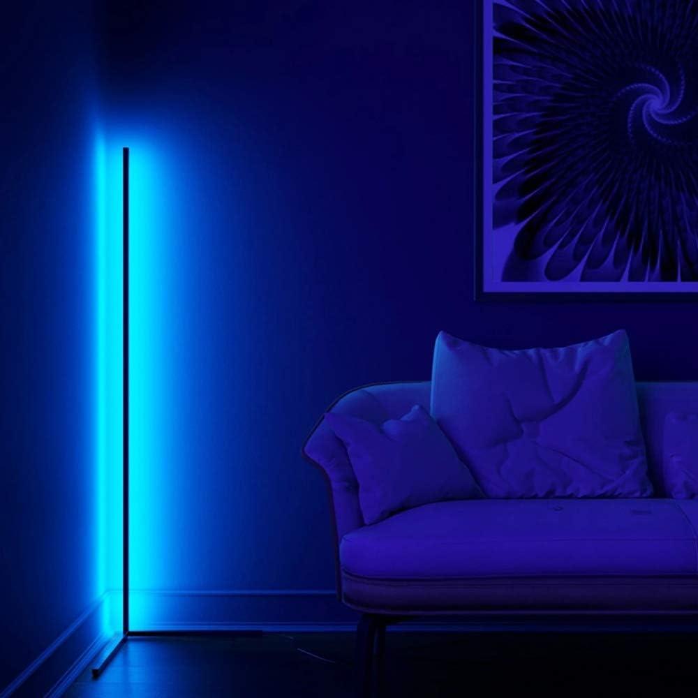 sala de juegos Luz de Lectura para Sal/ón HCSM L/ámpara de Pie de esquina Dormitorio LED L/ámpara de Suelo negro RGB Infinito Regulable Estilo minimalista moderno Con Control T/áctil Remoto