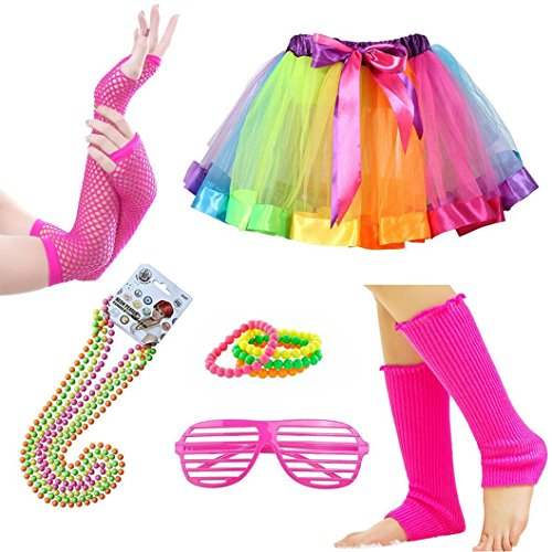 iLoveCos 80s Clothes Fancy Outfit Dress 1980s Costume Accessoies for Women Rainbow Tutu Skirt (Multi F9) for $<!--$20.99-->
