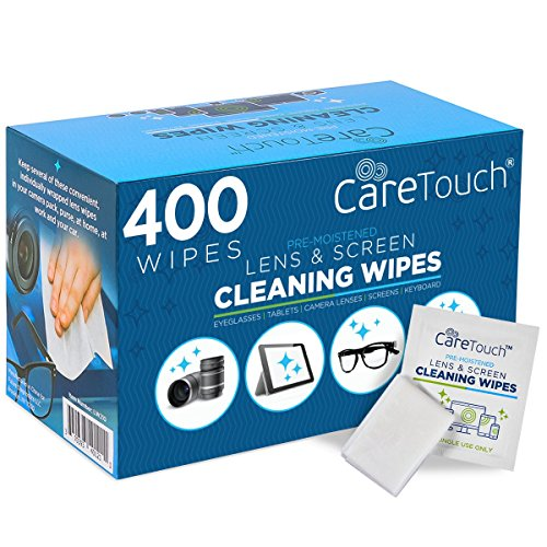 - Care Touch Lens Cleaning Wipes, Pre Moistened Cleansing Cloths Great for Eyeglasses, Tablets, Camera Lenses, Screens, Keyboards and Other Delicate Surfaces (400 Lens Wipes)