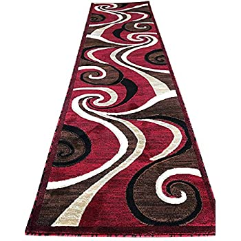 Amazon Com Modern Long Contemporary Runner Area Rug Red