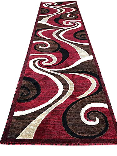 Modern Contemporary Abstract Runner Swirl Carpet King Area Rug Red Design 144 (2 Feet X 7 feet 3 Inch )]()
