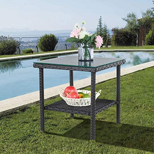 Patio Side Table Outdoor Metal Tables Garden Small Tables Black Wicker Rattan Side Table Patio Furniture Garden Deck Pool Glass Top Tea Table-Black