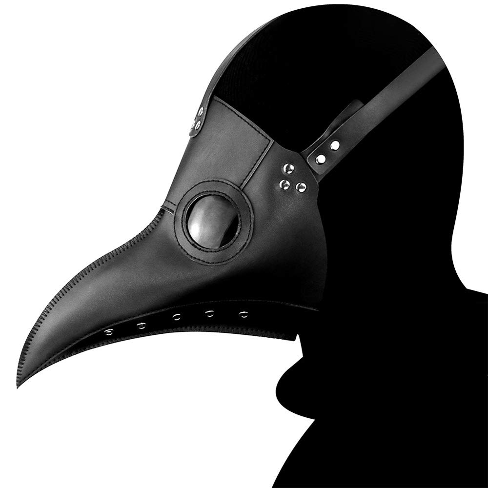 SmartHS Retro Plague Doctor Mask Long Nose Beak PU Leather Steampunk Mask (Black)