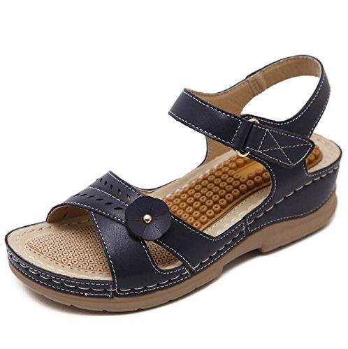 KHSKX-Schwarz 5 Cm Sandalen Neue Mädchen Sommer Sandalen Weiblichen Römischen Fisch Mund Sandalen Wasserdicht Taiwan Weiblich Mit Den Nationalen Wind Frauen Sandalen 41