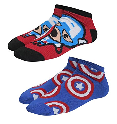 Captain America Logo Kawaii Women's Low-Cut Socks 2-Pack