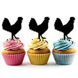TA0123 Chicken Silhouette Party Wedding Birthday Acrylic Cupcake Toppers Decor 10 pcs