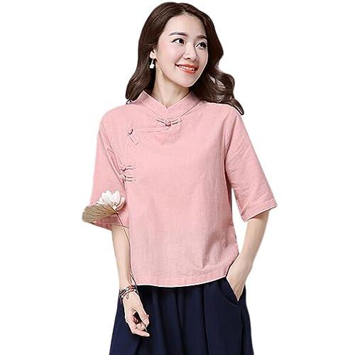 Hzjundasi Verano Retro Estilo chino Manga 3/4 Camisa Folk-custom Suelto Lino Tops Blusas