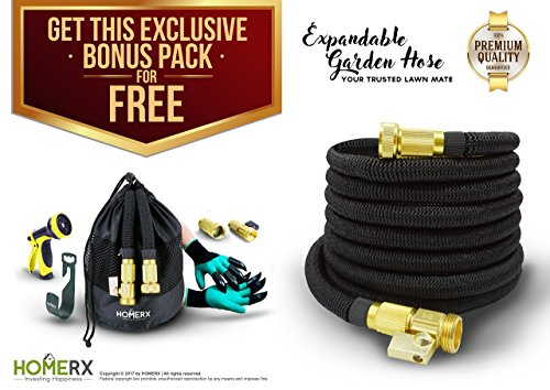 HomeRx - 1ST TIME EVER Super Expandable Garden Hose [2017] with LATEST 10 SPRAY NOZZLE - Lightweight, Ultra Flexible, Durable, Kink-Free - 100 Ft - Solid Brass Connector, 5 BONUS ITEMS l Garden Hose I
