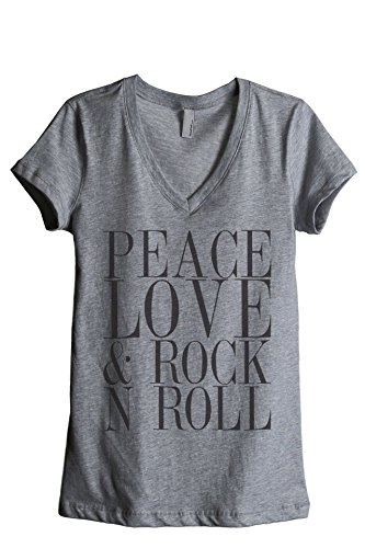 - Thread Tank Peace Love and Rock 'N Roll Women's Fashion Relaxed V-Neck T-Shirt Tee Heather Grey 2X-Large